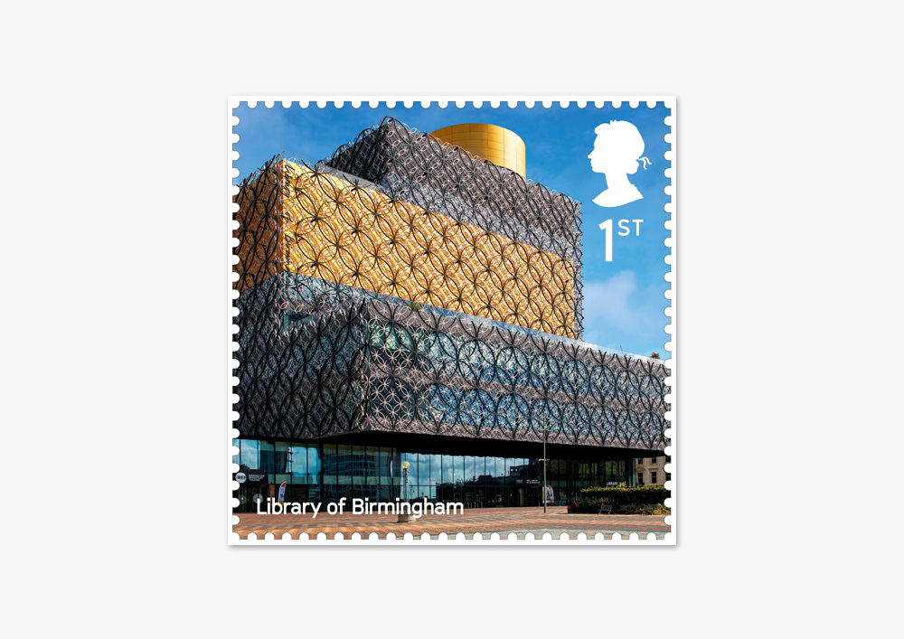 14 07 2017 Library of Birmingham included in Royal Mail Landmark Buildings Stamp Set